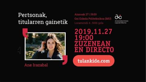 Sigue en directo la charla de Ane Irazabal
