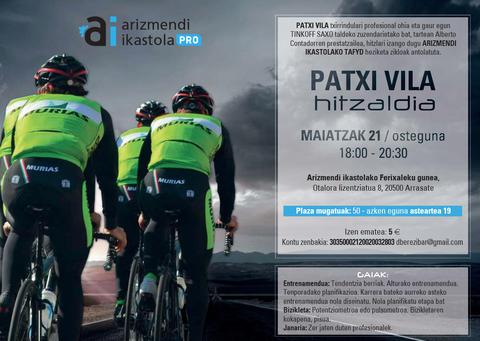 El exciclista profesional Patxi Vila ofrecerá una charla de la mano de Arizmendi Ikastola