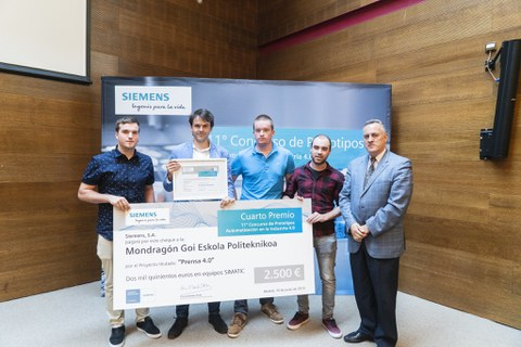 Estudiantes de Mondragon Goi Eskola Politeknikoa premiados en el Concurso de Prototipos Siemens