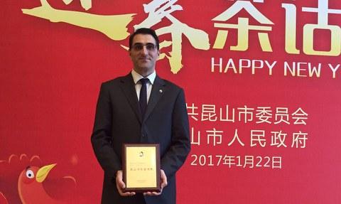 Igor Eceiza, director general de Orkli China, nombrado ciudadano honorífico de la ciudad de Kunshan