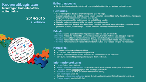 La séptima edición del Curso experto en Cooperativismo comenzará en noviembre y aún está abierto el plazo de inscripción