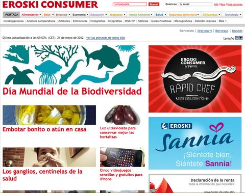 La web de Eroski Consumer ha sido finalista como mejor web en los Premios de Internet 2012