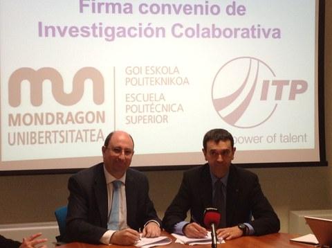 Mondragon Unibertsitatea e ITP firman un acuerdo para impulsar la investigación tecnológica en el sector aeronáutico