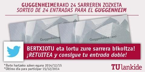 Participa en nuestro concurso en twitter y gana dos entradas para el Guggenheim