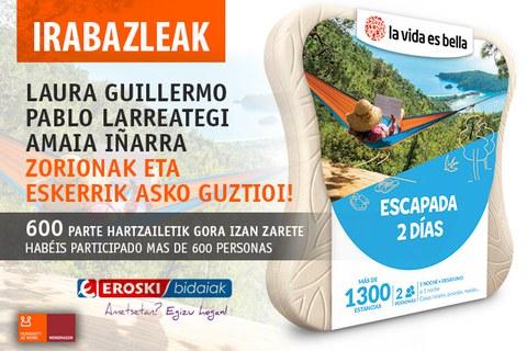 Ya tenemos las personas afortunadas del sorteo de Viajes Eroski