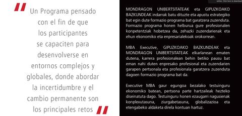 VI edición del MBA Executive organizado por Mondragon Unibertsitatea y Cámara de Gipuzkoa