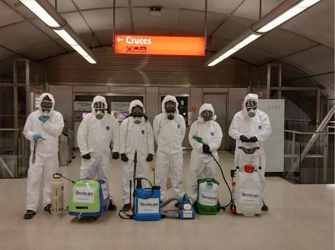 ONDOAN enpresak desinfektatze-lanak egiten ditu Metro Bilbaoko geltokietan